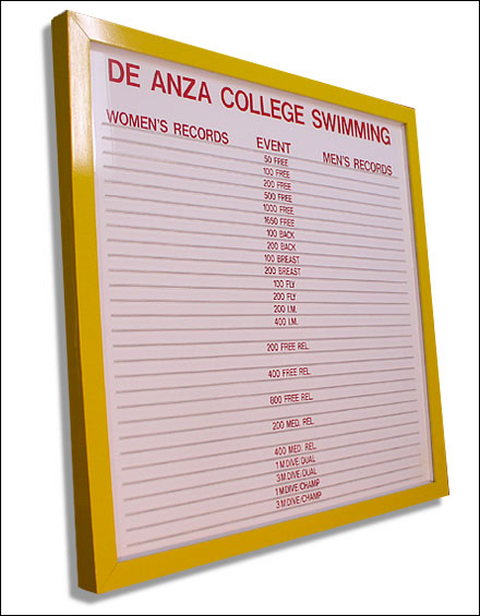 College Thin Track records board - Team only using 1"
